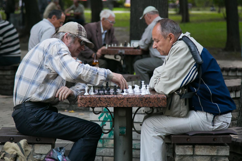 Шахматисты в парке Шевченко в Киеве