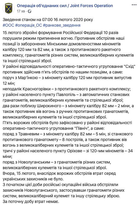 На Донбасі в бік Оріхового бойовики випустили 34 міни
