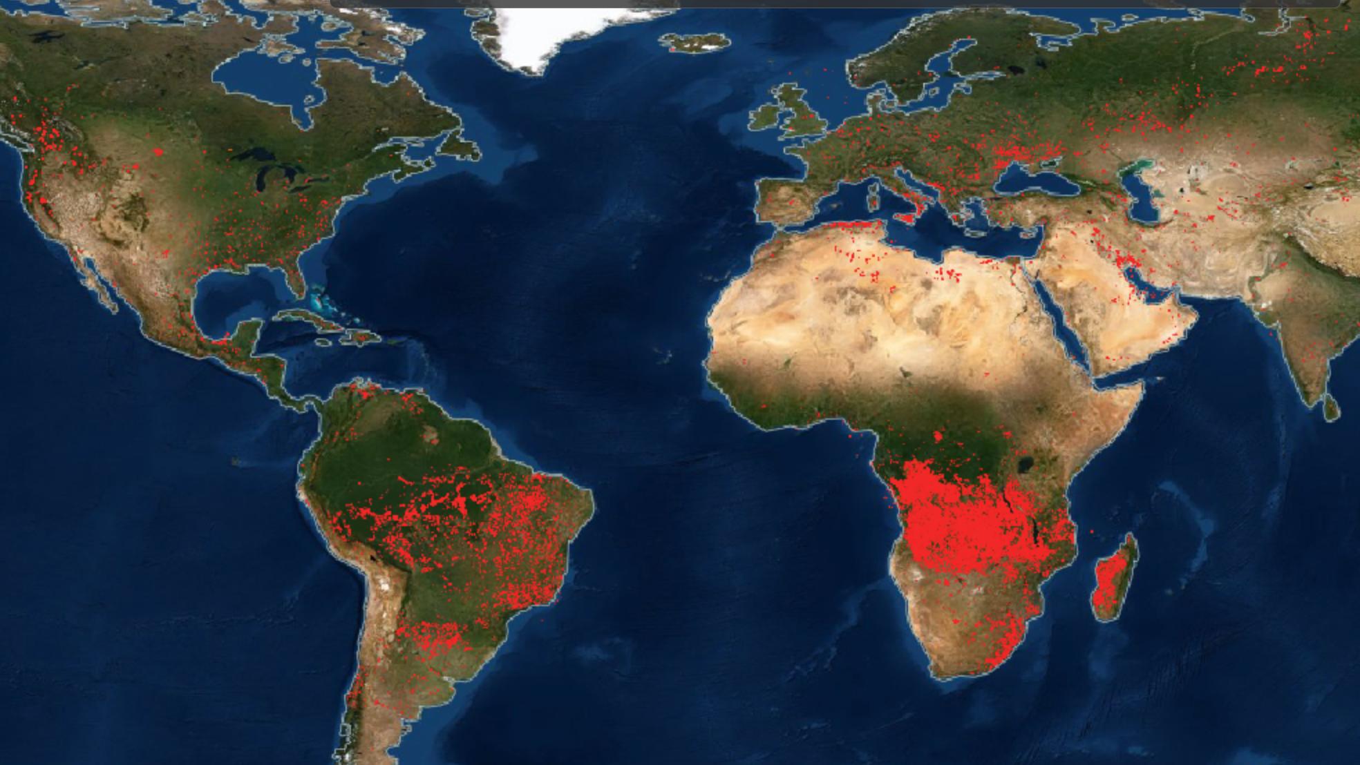 Планета в огне: NASA опубликовало карту пожаров
