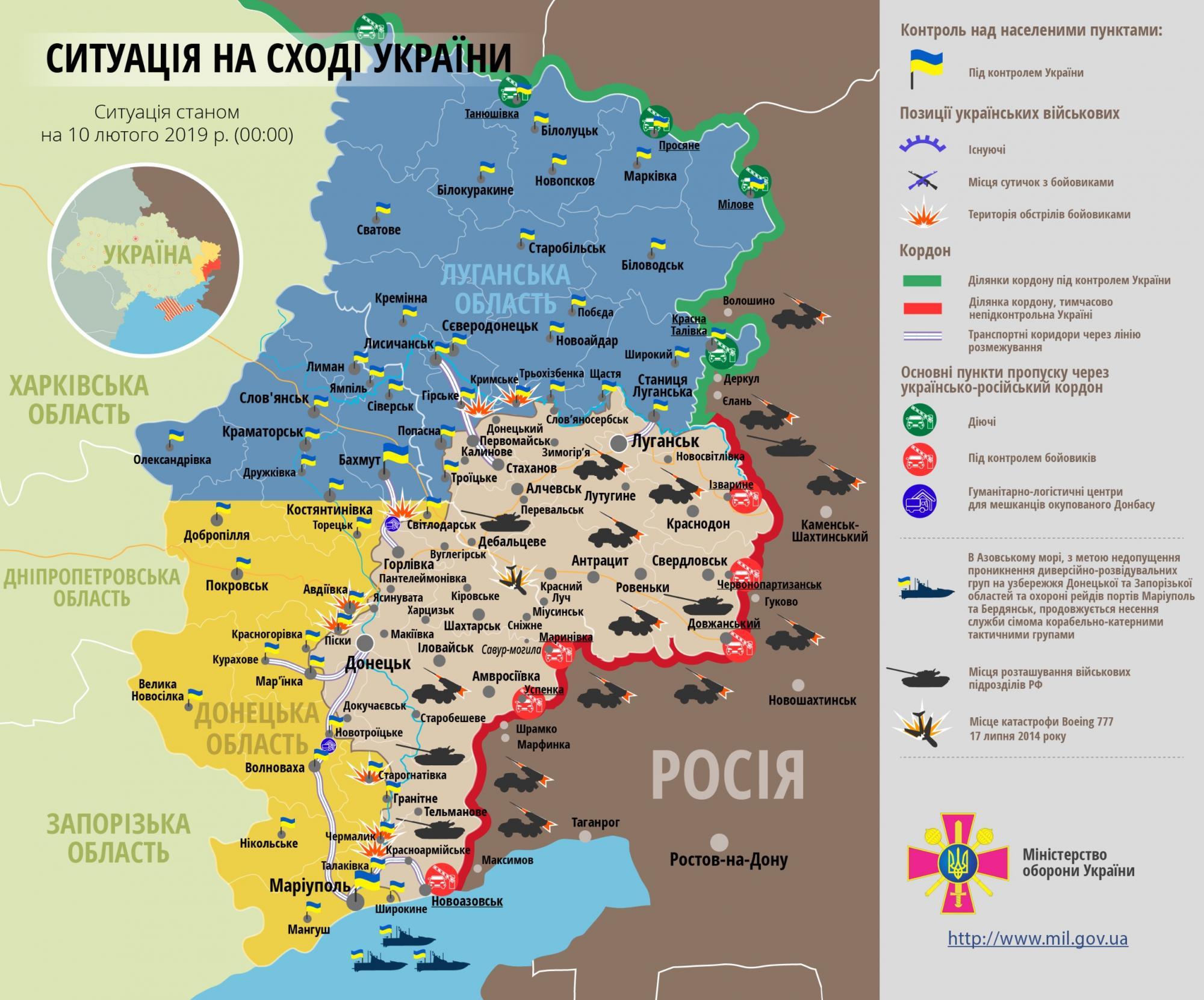 Ситуація на Донбасі станом на 10 лютого 2019