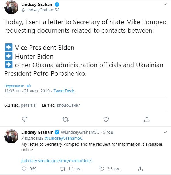 В Сенате США требуют документы о контактах Байдена и Порошенко
