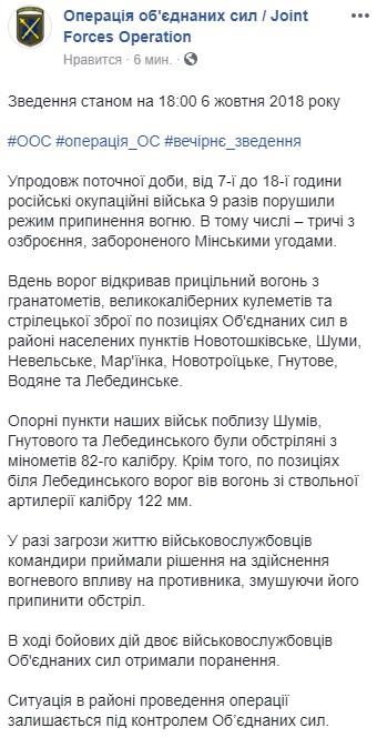 Бойовики за день 9 разів обстріляли позиції українських військових, є поранені