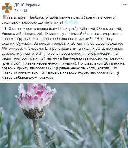 На Украину надвигаются заморозки до -5
