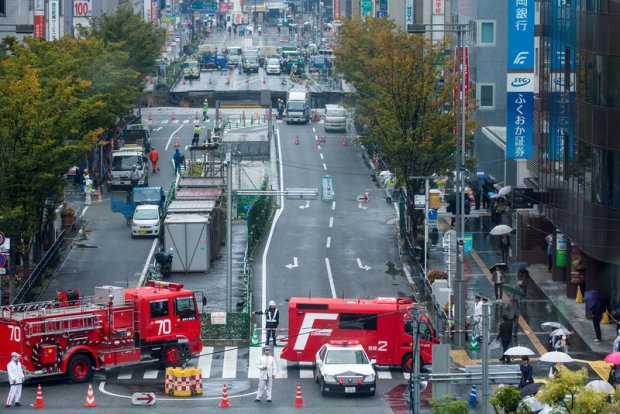 Обвал дороги в Японии