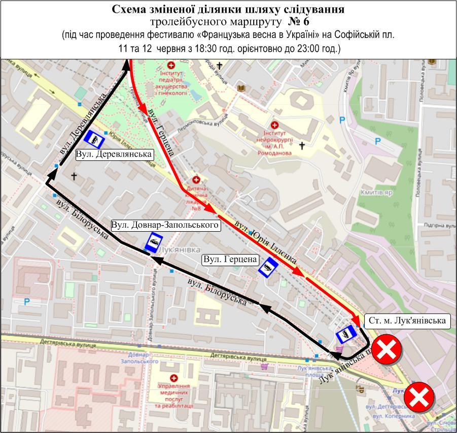 У Києві 11 та 12 червня транспорт курсуватиме по-іншому: схема руху