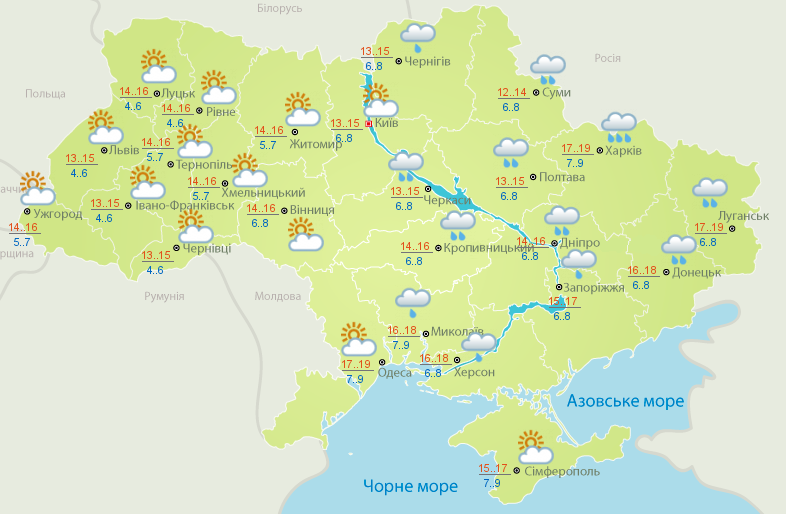 Сонце на заході і дощі на сході: прогноз погоди на сьогодні