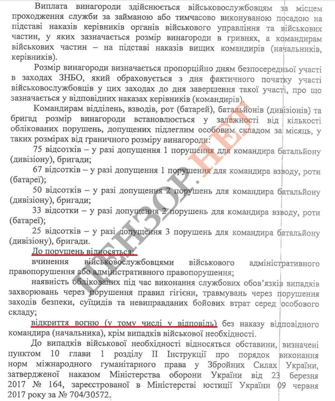 Військових ЗСУ штрафуватимуть за вогонь у відповідь: фото скандального документа