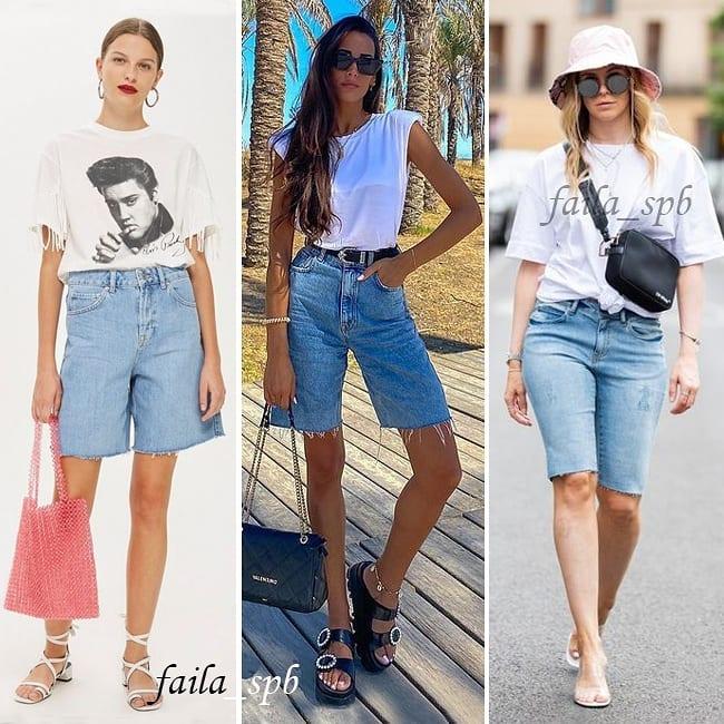 Не такие, как в нулевых: стилист показала, как носить джинсовые бермуды в 2021