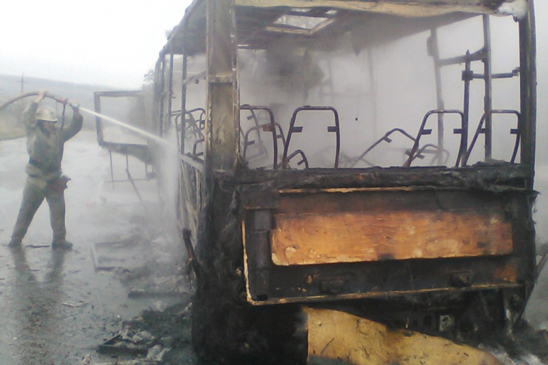 ВХарьковской области сгорел рейсовый автобус