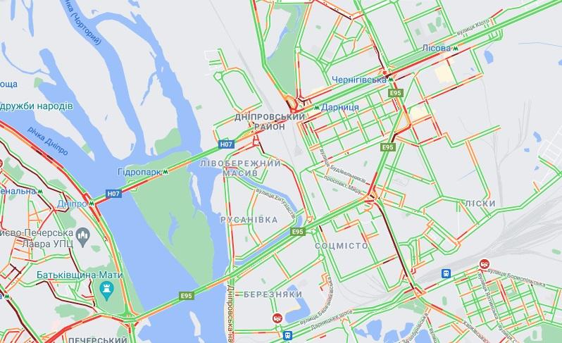 Пробки в Киеве. Фото: google.com/maps