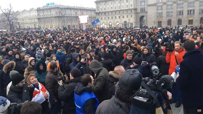 Белорусы устроили акцию протеста против «декрета отунеядцах»
