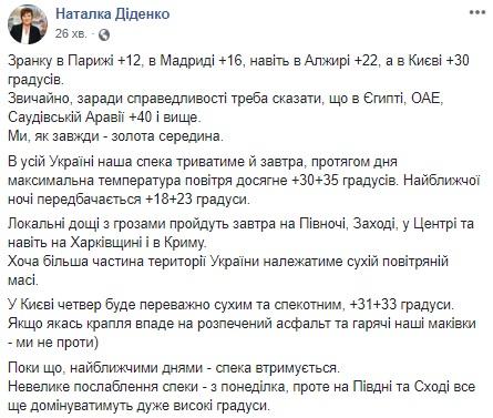 Синоптик повідомила, коли в Україні послабиться спека (фото)