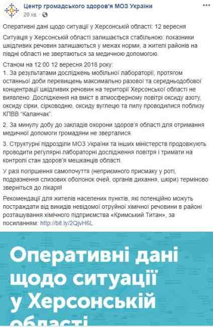 """Выбросы """"Крымского титана"""": новые данные Минздрава о химических показателях в Херсонской области"""