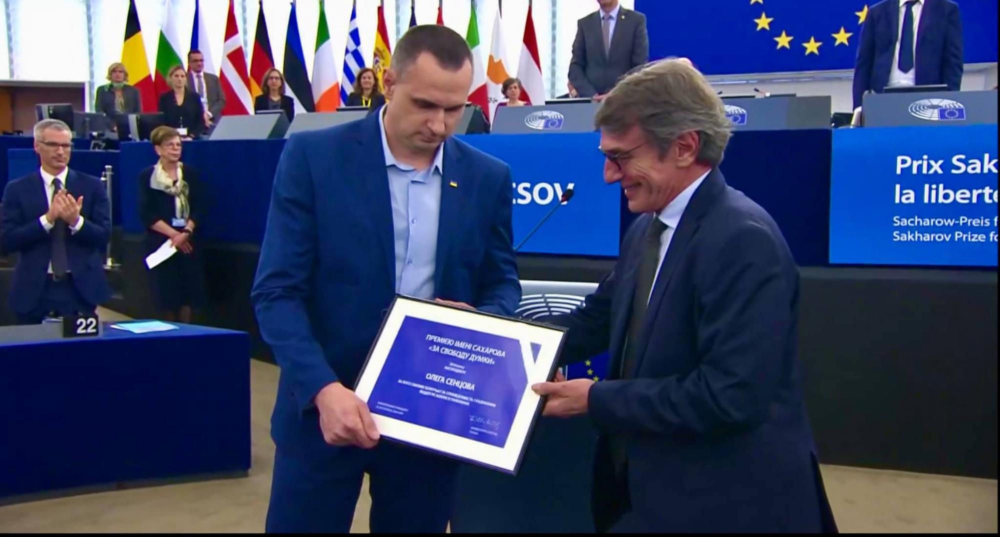 Сенцову вручили премию Сахарова в Европарламенте