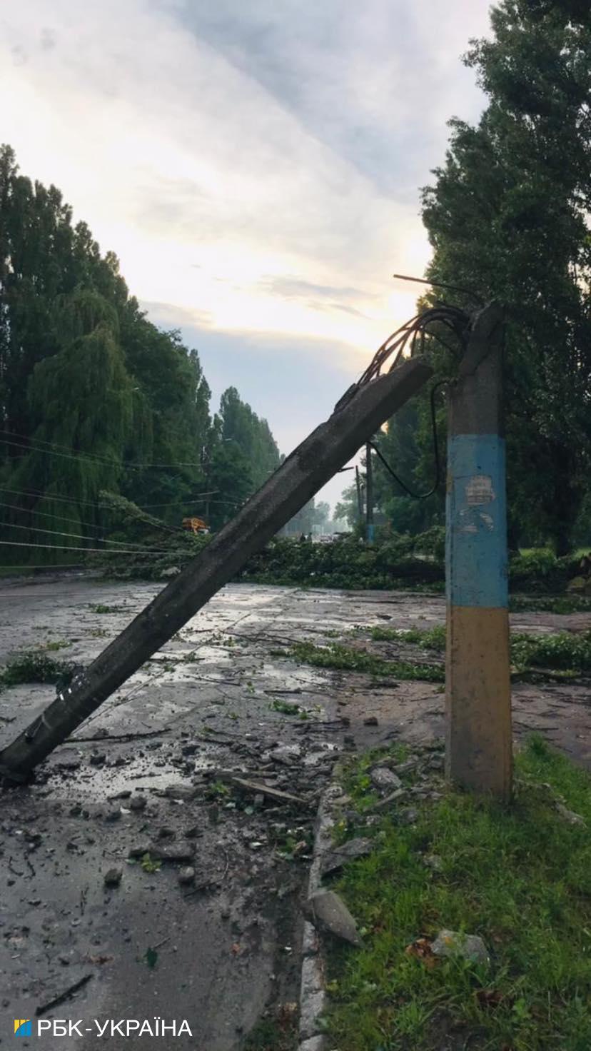Повалені дерева, затоплені вулиці та постраждалий чоловік: Житомир накрила негода