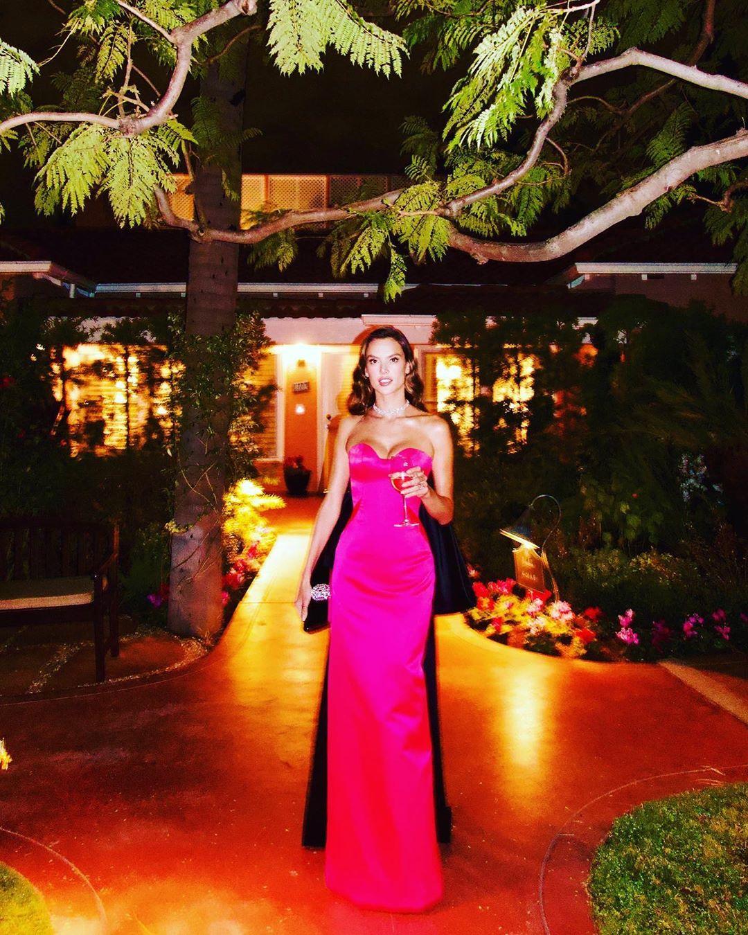 Розовая мечта: Алессандра Амбросио показала точеную фигуру в эффектном наряде