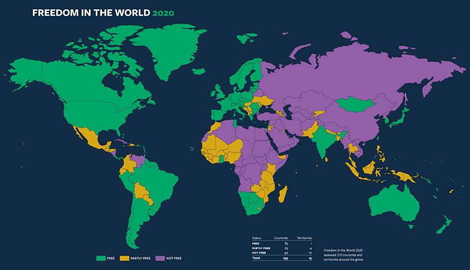 Україна зберегла статус частково вільної країни в рейтингу Freedom House