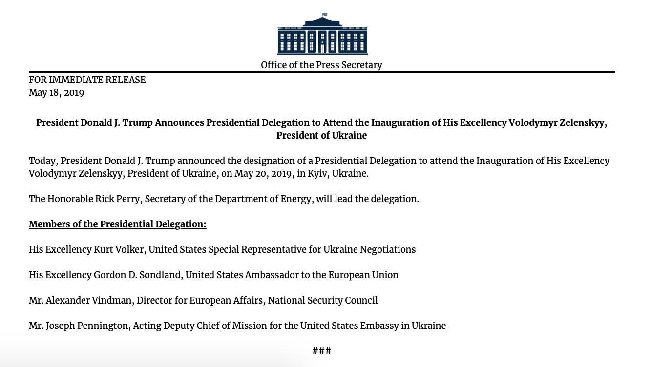 Белый дом обнародовал список делегации на инаугурацию Зеленского