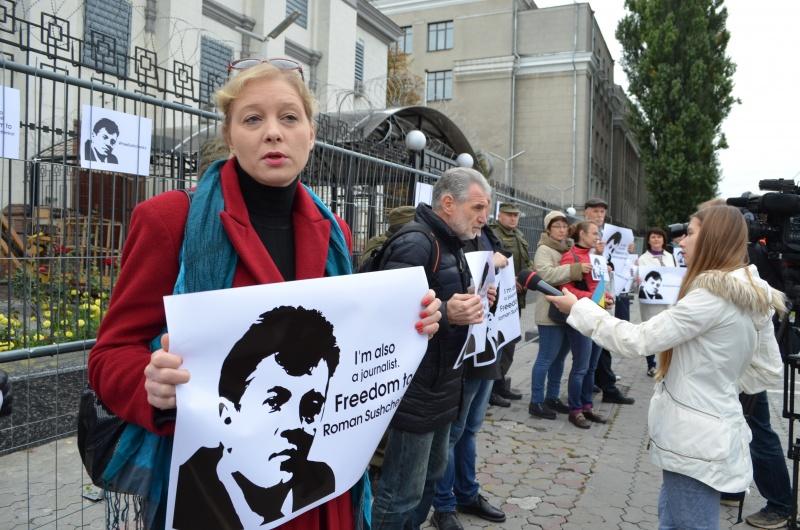 Акция вподдержку Сущенко прошла вКиеве, планируется— вРиме иПариже