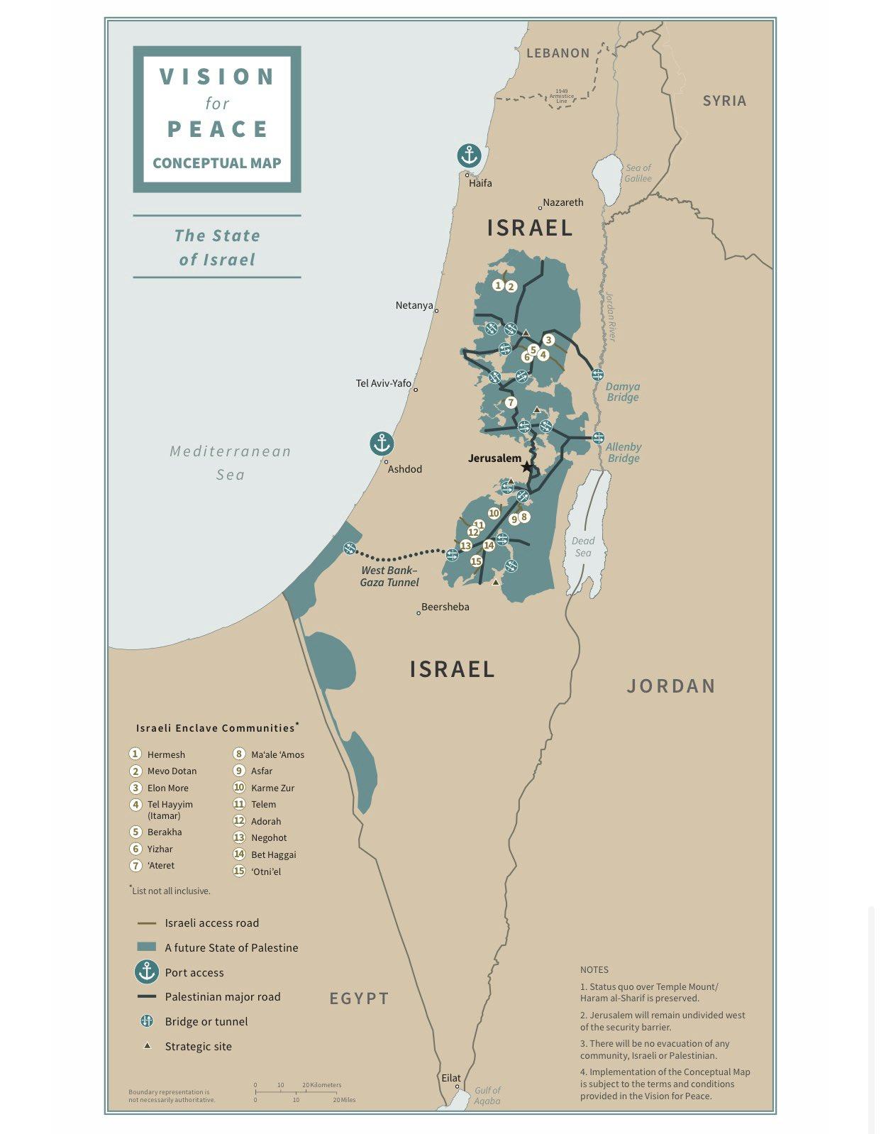 Трамп опубликовал карту новых границ Израиля и Палестины
