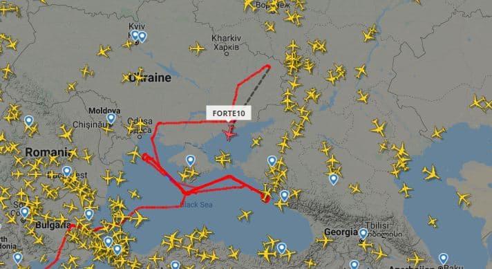 Самолет и беспилотник ВС США летают возле оккупированных территорий Украины (маршрут)