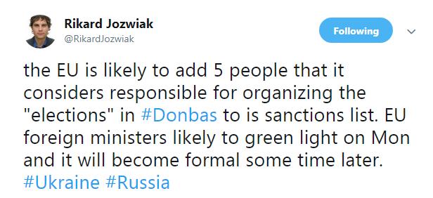 ЕС может ввести санкции против пятерых человек, ответственных за выборы в ОРДЛО