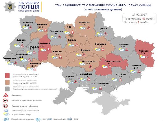 Критический уровень аварийности зафиксирован вшести областях Украины