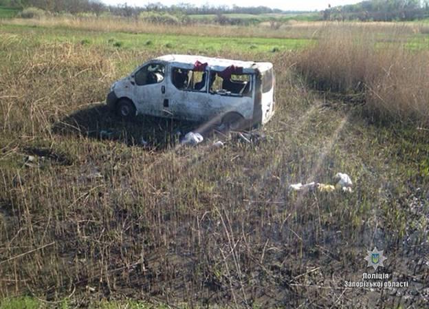 ВЗапорожской области перевернулся микроавтобус, 1 человек умер, 5— пострадали