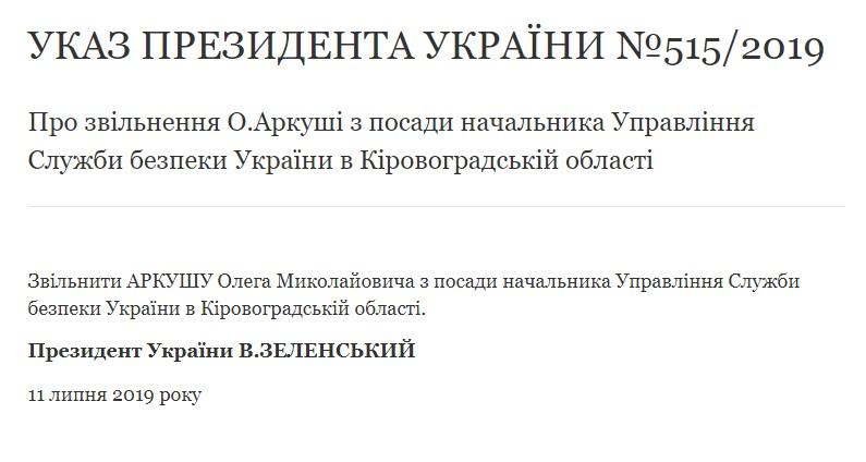 Зеленський звільнив начальника СБУ в Кіровоградській області
