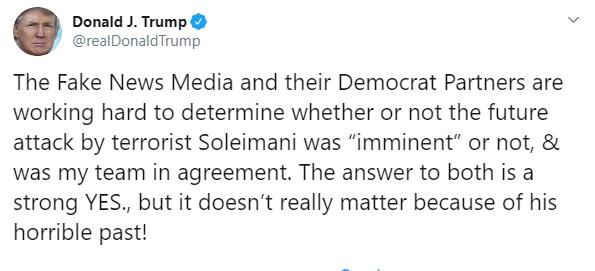 Администрация президента США была едина в вопросе ликвидации Сулеймани, — Трамп