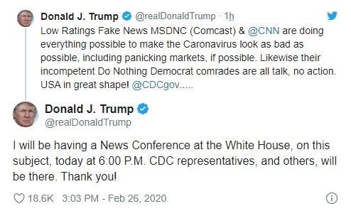 Трамп проведет брифинг по коронавирусу для опровержения ложной информации