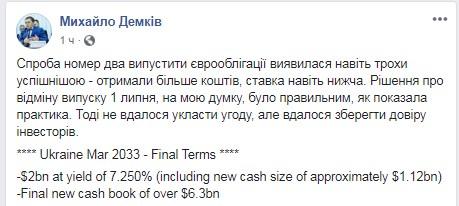 Украина успешно разместила евробонды на 2 млрд долларов