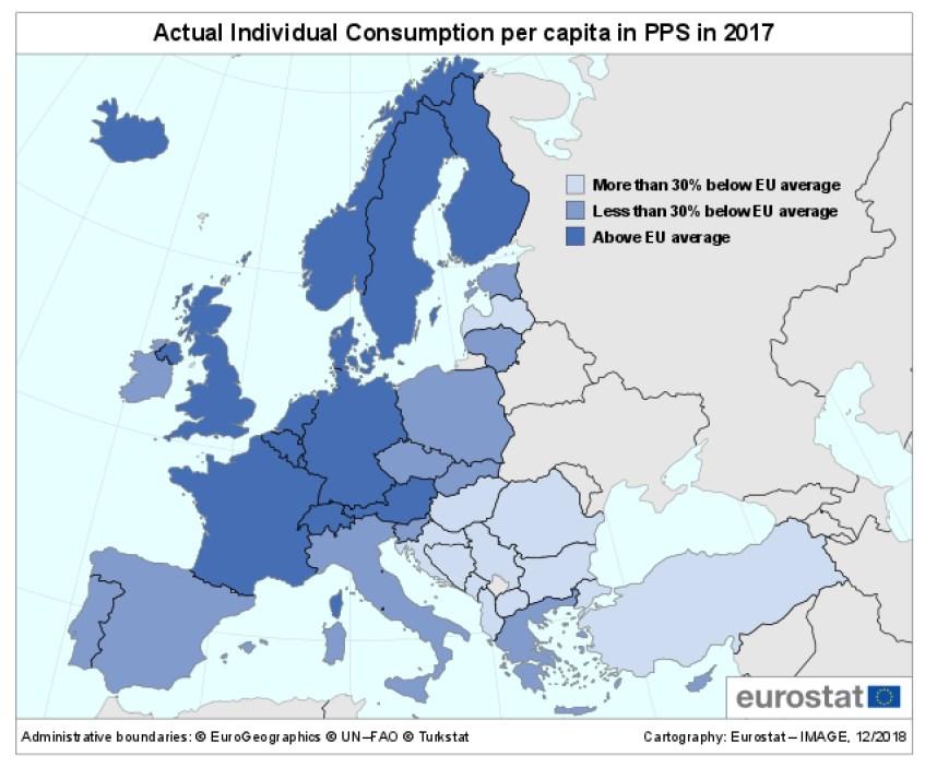 Евростат назвал самые богатые и самые бедные страны ЕС