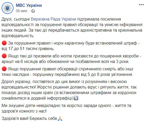 Штрафы до 51 тысячи и тюрьма: что грозит украинцам за нарушение карантина