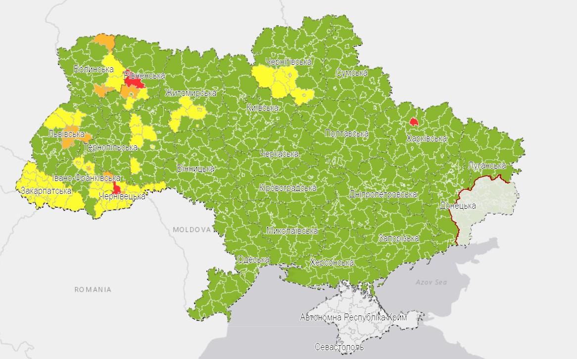 Карантинные зоны в Украине: появился обновленный список
