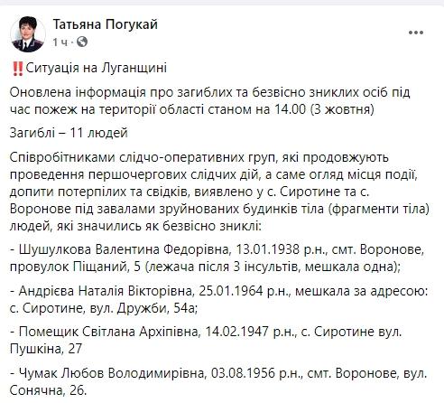 Кількість загиблих на пожежах в Луганській області зросла до 11 осіб