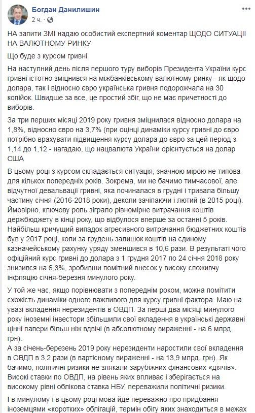 Голова Ради НБУ прокоментував падіння курсу долара після виборів