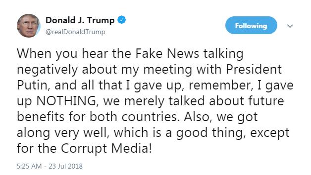 Трамп заявил, что он не поступился интересами США на саммите с Путиным