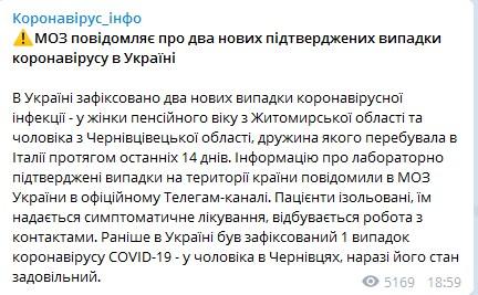 Число зараженных коронавирусом в Украине возросло
