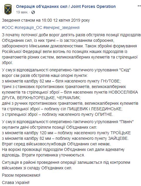 На Донбасі у п'ятницю без втрат серед українських військових