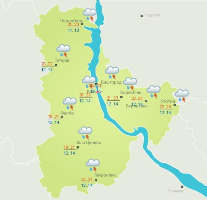 Місцями дощі та грози та потепління до +27: прогноз погоди на сьогодні