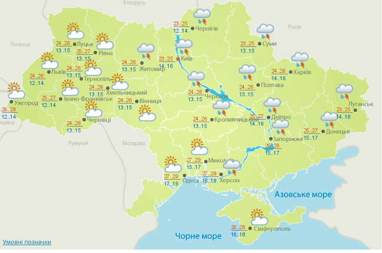 В Україні сьогодні спека до +31