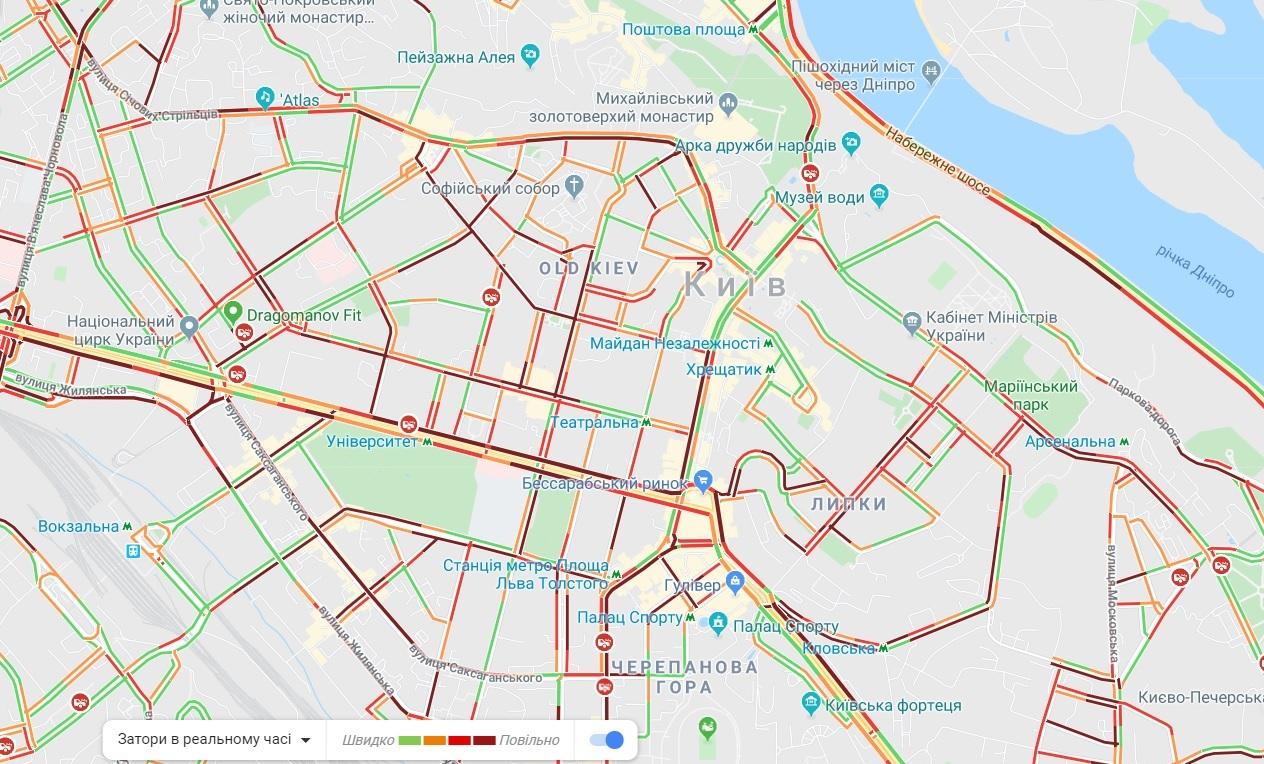 Київ скували пробки: карта