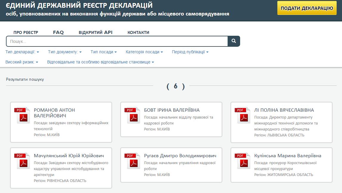 Появились первые электронные декларации чиновников