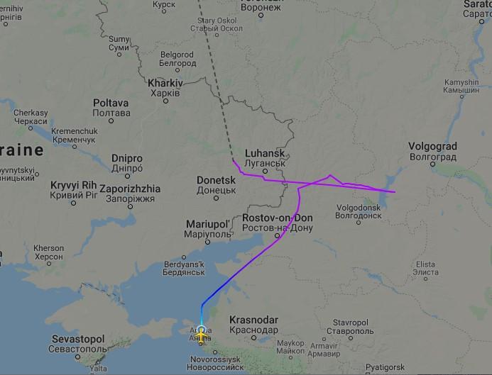 Российский самолет зашел в воздушное пространство над Донбассом