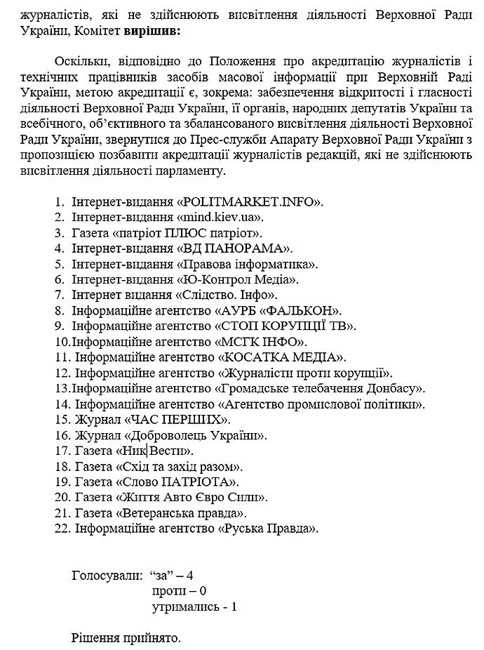 Журналістам 22 видань заборонили відвідувати Ради