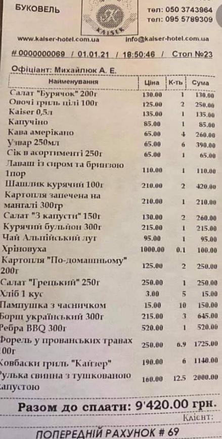 Буковель трещит по швам: чек из местного ресторана поверг в шок украинцев