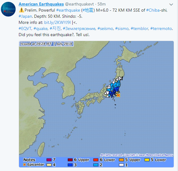 ВЯпонии пару минут продлилась угроза цунами после землетрясения