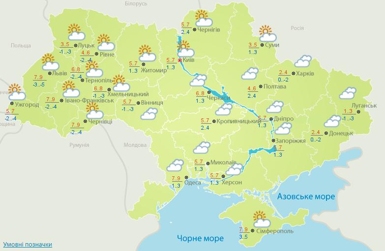 Нічні заморозки та без опадів: прогноз погоди на сьогодні