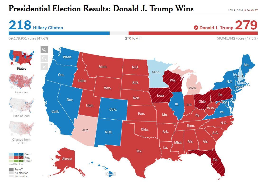 Клинтон обошла Трампа пообщему числу голосов